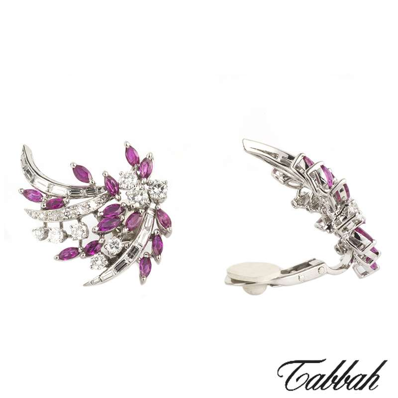 Tabbah Platinum Ruby & Diamond Earclips c.1940